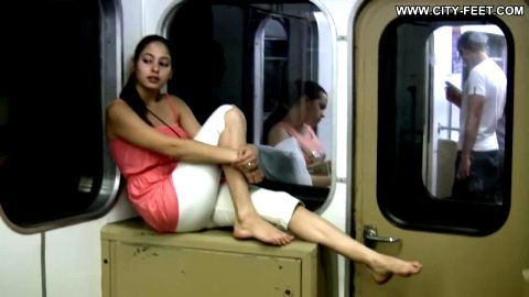 Cute Little Asian Gal Dirties Up Her Feet While Playfully Skipping Through The Subway Station