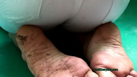 Watch This Sexy Young Girl Get Her Feet All Dirty At The Playground
