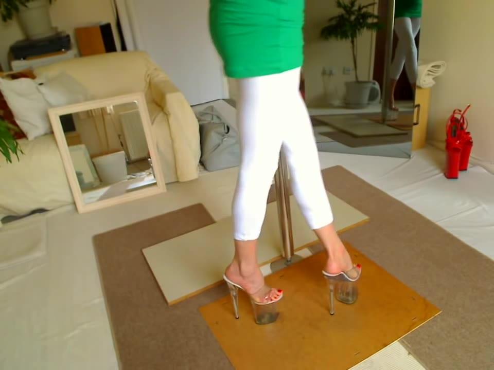 Clear Stripper Heels In Living Room - Feet9-3772