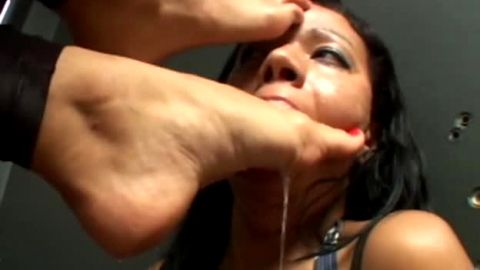 Spicy Brazillian foot mistress bosses around toe slave