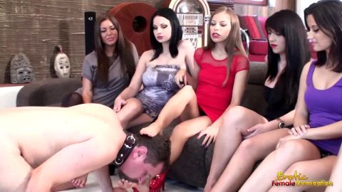Mistress Leigh and a dozen femdoms use slave