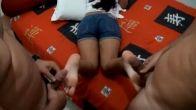MFM footjob - Latina feet get covered