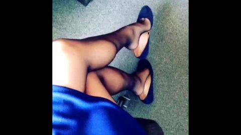 Amateur dangles black kitten heels And Converse
