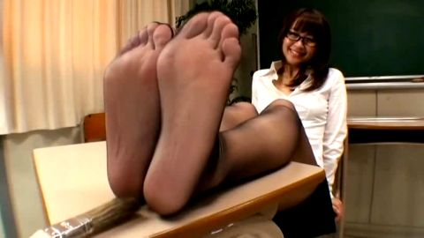 Japanese Teacher Nerd Feet Tickling