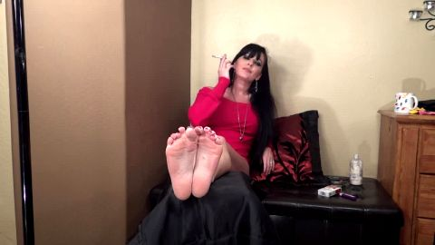 Smoking fetish and foot fetish, all in one video