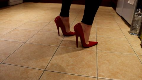 Noisy heels clomping on tile floor