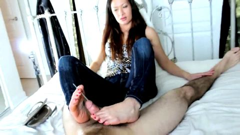 Urethral sounding using her feet