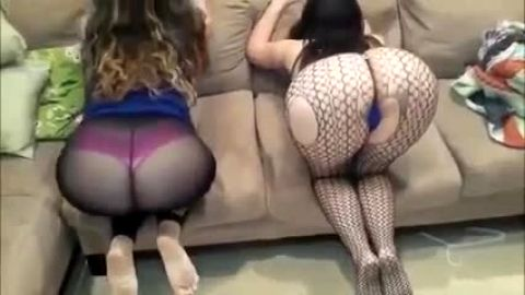 Jiggly big butts bouncing in fishnets