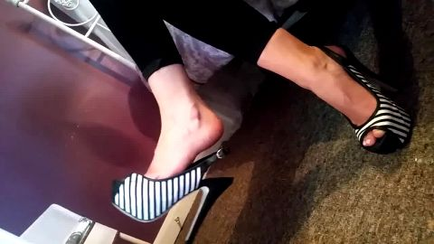 Hot black and white striped peeptoe platforms
