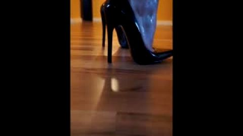 Noisy high heels walking on wood floor
