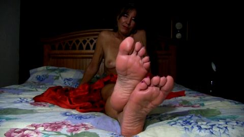 Dirty older lady tells you to jerk on her feet