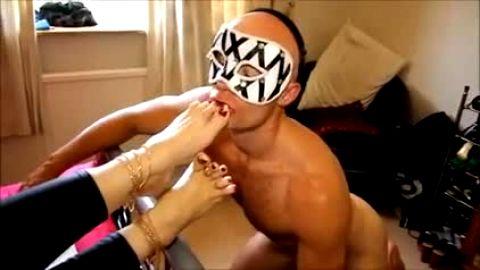 Masket foot fetish slave sucking toes