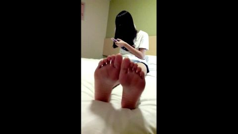 Hot Asian teen in pink ankle socks