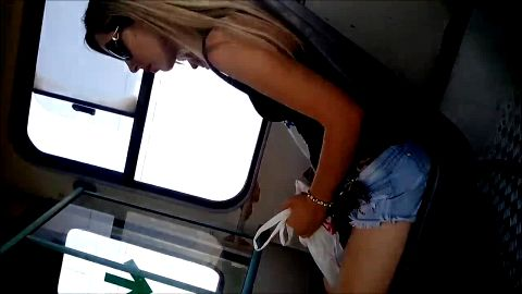 Gladiator sandals hidden camera on a bus