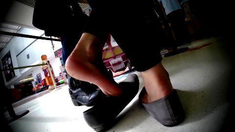 Wonderful girl with fantastic feet gets caught by voyeur camera in public