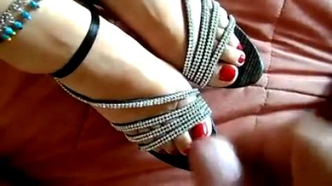 Sexy studded sandals get spermed on