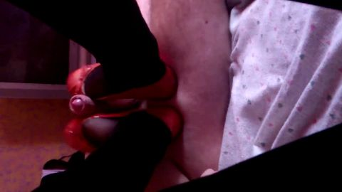 Red flats and black pantyhose = visually exciting footjob