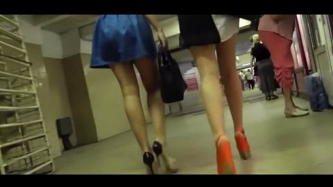 Stunning Russians girls in provocative outfits wearing super sexy high heels shoes in public