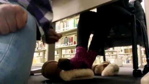 Dude cums on her fuzzy socks in library then leaves