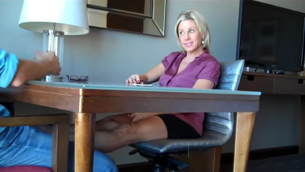 Milf Footjob Under Table