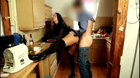 German Milf squirts on kitchen counter in stockings and heels