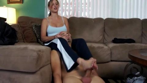 Both feet work together to make her man cum