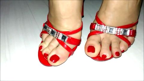 Want to lick my toes and red sandals?