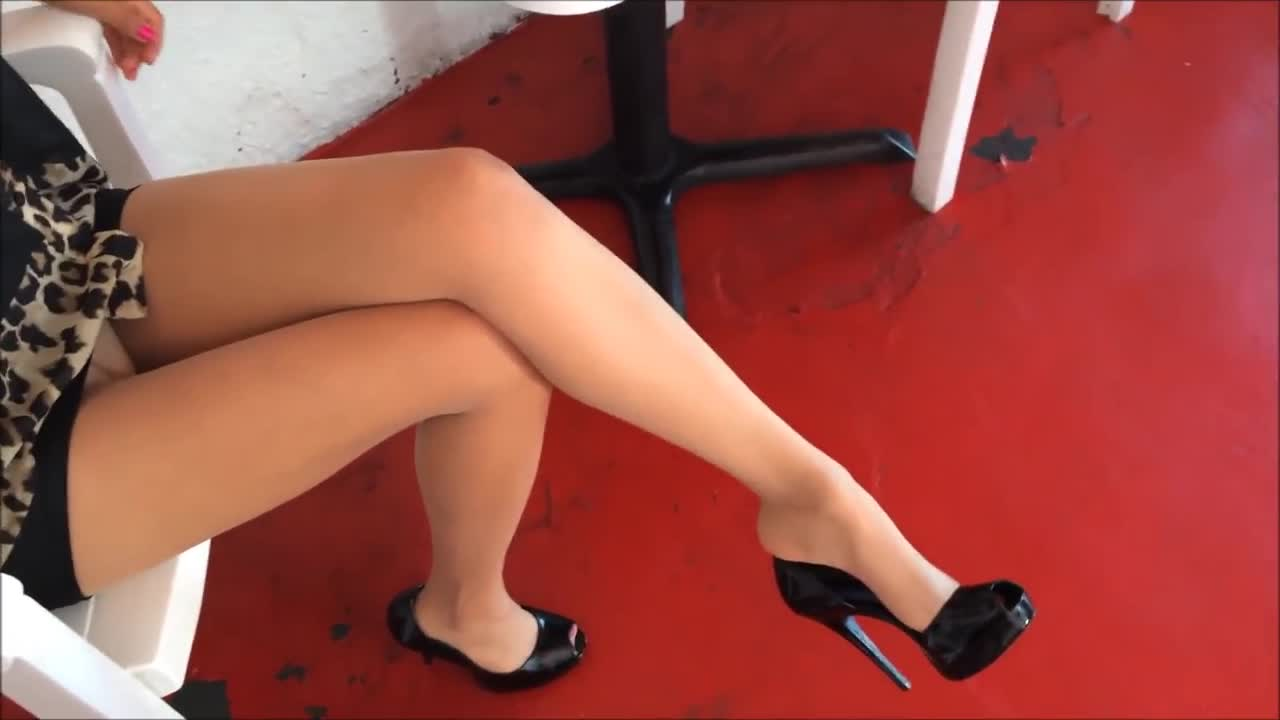 Hottie wearing super sexy nylon stockings and high heels at the store -  Feet9