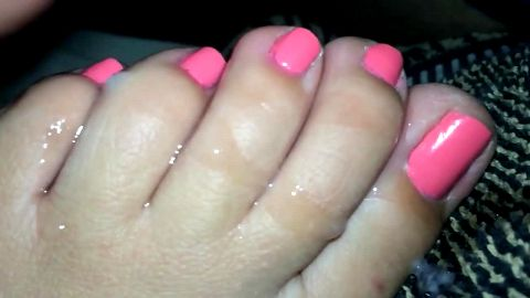 Creaming on my wife's pink toes