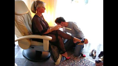Dominant German mistress makes her horny male foot slave cum on her feet