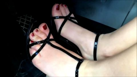 Wild girl in sexy dress doing pedal pumping wit her amazing feet