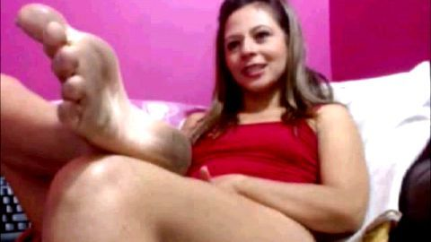 Sexy blonde shows her dirty feet before dildoing herself on the camera