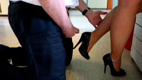 Horny guy in uniform cumming on secretary's sexy shoes from behind
