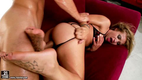 Sexy Alyssa Branch with tattooed feet getting banged hard doggystyle