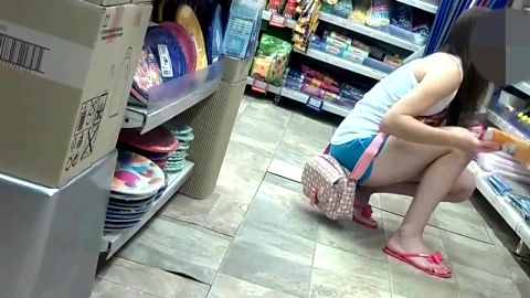 Cute girl in shorts likes exposing her sexy amateur feet in super market