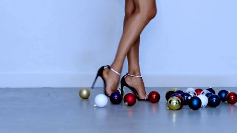 Wonderful girl with hot legs and feet in foot crush video action