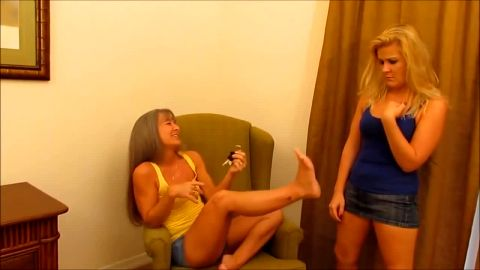 Wild blonde girl kneels down and worships lovely naked mature feet