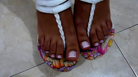 Fantastic video of attractive amateur feet with white nail polish