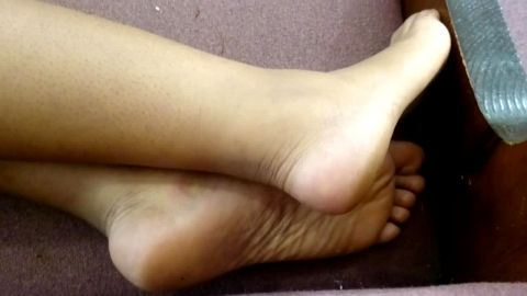 Candid Beautiful Ebony Barefeet in strap