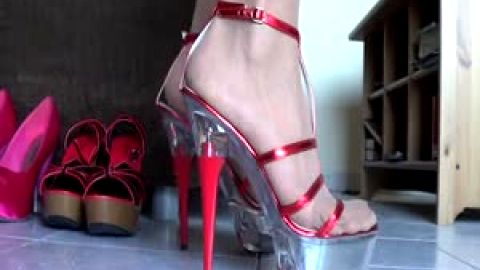 Girl with delicious feet likes wearing sexy pink shoes with high heels