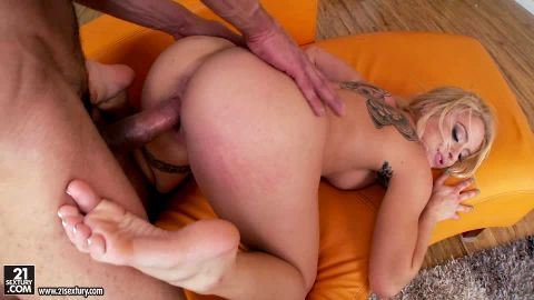 Stunning tattooed blonde Cameron Canada fucking hard in an epic foot fetish sex scene