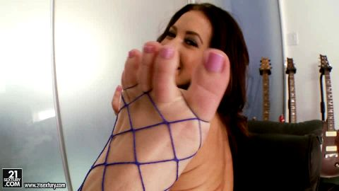 Amazing MILF in fishnet stockings Jayden Jaymes plays with her feet and pussy
