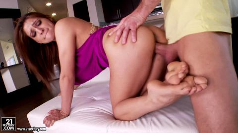 Bootylcious Sara Luvv strokes a curvy dick with her exotic feet and gets nailed doggystyle