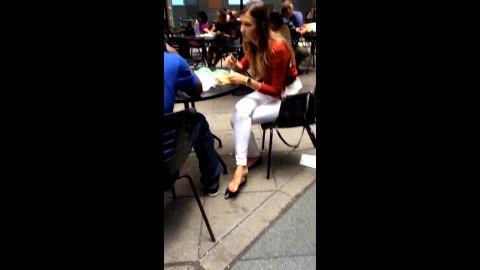 Kinky voyeur spots a beautiful teen's feet with red nail polish in public restaurant