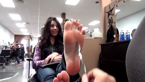 Pretty amateur brunette in jeans has very beautiful sensitive soft feet