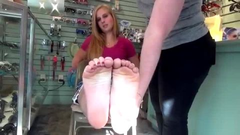Chubby amateur girl touching her hot blonde girlfriend's soft feet and toes