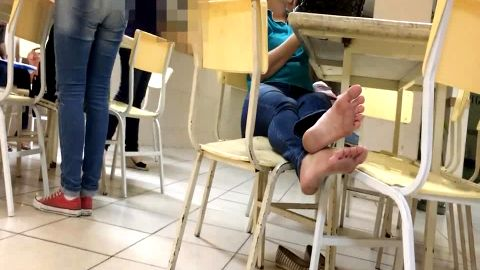 Naughty voyeur camera spotted sexy college babes with hot feet at the library