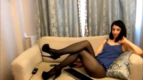 Skinny amateur woman wearing sexy black nylon stockings and high heels on her liver sex chat