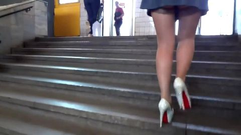 Kinky voyeur finds smoking hot babe in public wearing nylon stocking and super sexy shoes