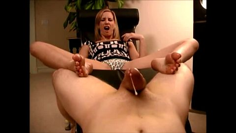 Slutty woman touching and rubbing a thick cock with her wonderful oiled up feet